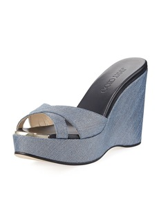 Jimmy Choo Perfume Denim Wedge Platform Sandal
