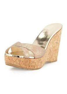 Jimmy Choo Perfume Metallic Wedge Slide Sandal