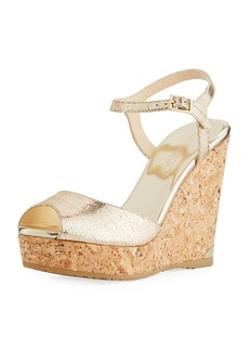 Jimmy Choo Perla Metallic Platform Wedge Sandal