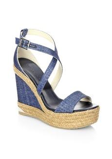 Jimmy Choo Portia 120 DFW Metallic Denim Espadrille Wedge Sandals