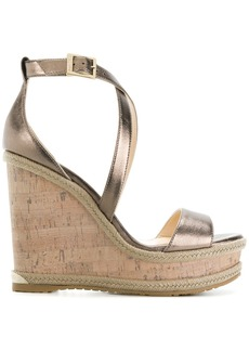 Jimmy Choo Portia 120 wedge sandals - Metallic