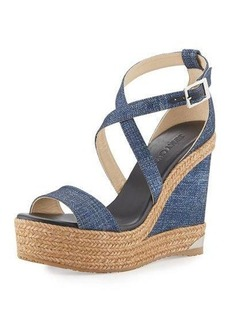 Jimmy Choo Portia Denim Platform Wedge Sandal