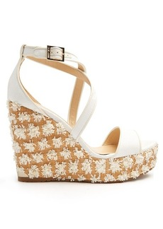 Jimmy Choo Portia floral-embellished wedge sandals