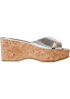 Jimmy Choo Prima metallic snake-effect leather platform sandals