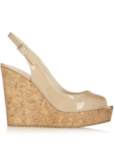 Jimmy Choo Prova 120 patent-leather wedge sandals