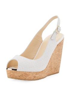 Jimmy Choo Prova Textured Cork-Wedge Sandal