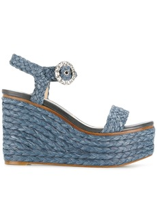 Jimmy Choo Raffia wedge sandals - Blue