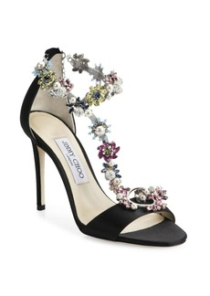 Jimmy Choo Reign 100 Crystal-Embellished Satin T-Strap Sandals