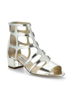 Jimmy Choo Ren Caged Metallic Leather Block Heel Sandals