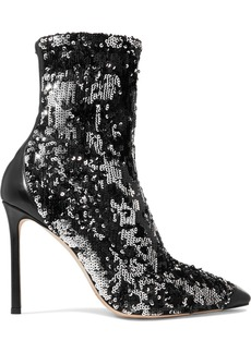 Jimmy Choo Ricky 100 leather-trimmed sequined stretch-knit sock boots