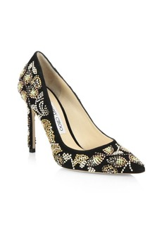 Jimmy Choo Romy 100 Embroidered Suede Pumps