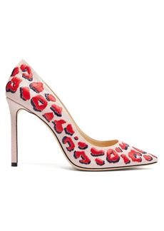 Jimmy Choo Romy 100 leopard-embroidered linen pumps
