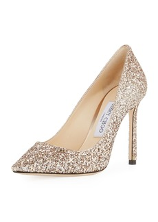 Jimmy Choo Romy 100mm Shadow Coarse Glitter Pointed-Toe Pump