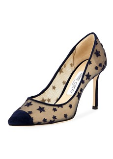 Jimmy Choo Romy 85mm Star Mesh Suede Embroidered Star Pumps