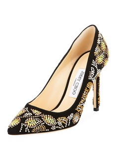 Jimmy Choo Romy Embroidered Suede Pump