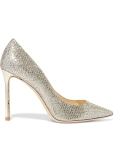 Jimmy Choo Romy 100 glittered leather pumps