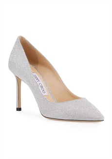 Jimmy Choo Romy Glittered Mid-Heel Pumps