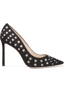 Jimmy Choo Romy 100 laser-cut suede and metallic leather pumps