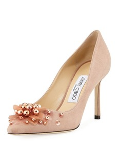 Jimmy Choo Romy Suede Flower Pump