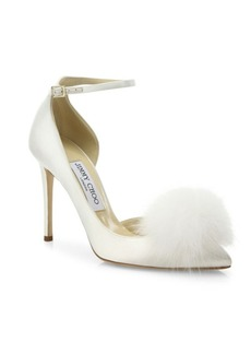 Jimmy Choo Rosa 100 Fox Fur Pom-Pom & Satin d'Orsay Ankle-Strap Pumps