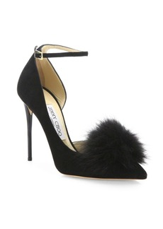 Jimmy Choo Rosa 100 Fox Fur Pom-Pom & Suede d'Orsay Ankle-Strap Pumps