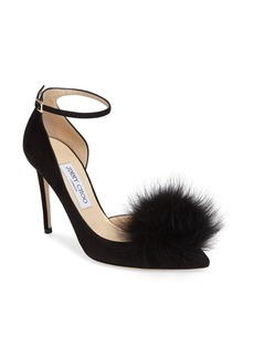 Jimmy Choo Rosa Pump with Genuine Fox Fur Pom Charm (Women)