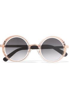 Jimmy Choo Round-frame embellished rose gold-tone and acetate sunglasses