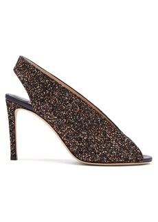 Jimmy Choo Shar 85 peep-toe glitter leather slingback sandals