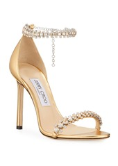 Jimmy Choo Shiloh Metallic Crystal Sandals