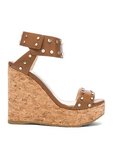 Jimmy Choo Shiny Leather Nelly Wedges with Studs