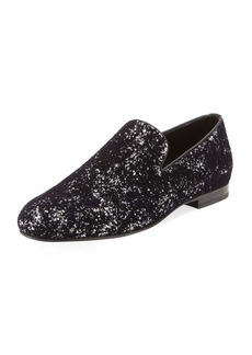 Jimmy Choo Sloane Men's Coarse Glitter Velvet Slipper