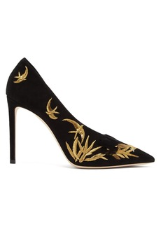 Jimmy Choo Sophia 100 embroidered suede pumps