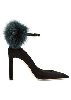 Jimmy Choo South 100mm fox-fur embellished suede pumps