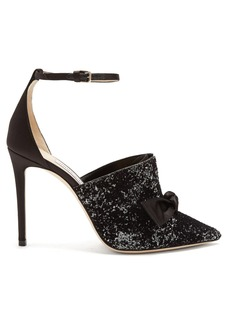 Jimmy Choo Temple 100 glitter-embellished satin heels