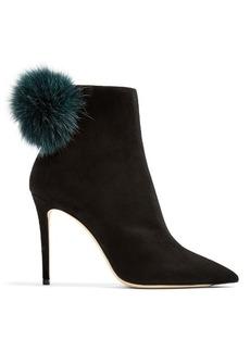 Jimmy Choo Tesler 100mm fox-fur embellished suede ankle boots