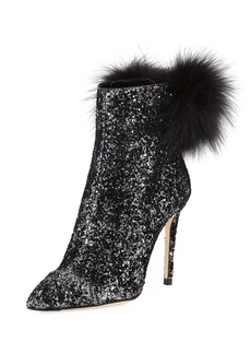 Jimmy Choo Tesler Glittered Fur-Trim Boot