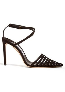 Jimmy Choo Thu 100 suede cage heels