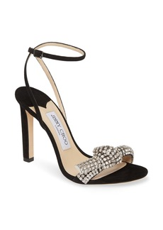 Jimmy Choo Thyra Crystal Knot Ankle Strap Sandal (Women)