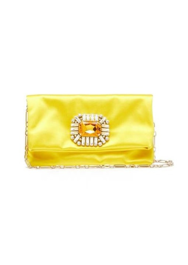 Jimmy Choo Titania crystal-embellished satin clutch