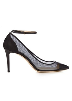 Jimmy Choo Tower 85mm leather and mesh pumps