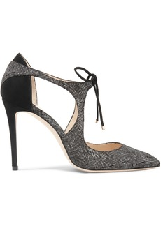 Jimmy Choo Vanessa 100 cutout textured-leather and suede pumps