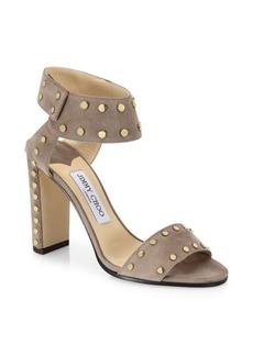 Jimmy Choo Veto Studded Suede Block-Heel Sandals