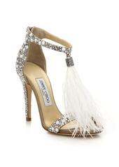 Jimmy Choo Viola Feather Tassel Embellished Suede Sandals