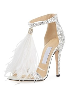 Jimmy Choo Viola Crystal Satin Sandal with Feather