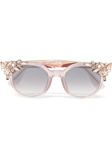 Jimmy Choo Vivy embellished round-frame acetate and rose gold-tone sunglasses
