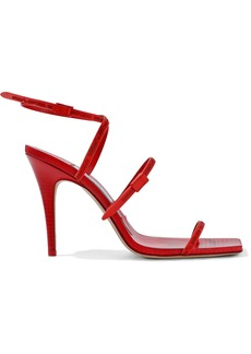 Jimmy Choo Woman + Off-white Jane 100 Rubber-trimmed Leather Sandals Red