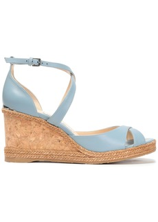 Jimmy Choo Woman Alanah Leather Wedge Sandals Light Blue