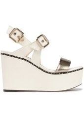 Jimmy Choo Woman Alton Studded Metallic And Smooth Leather Platform Wedge Sandals Ivory
