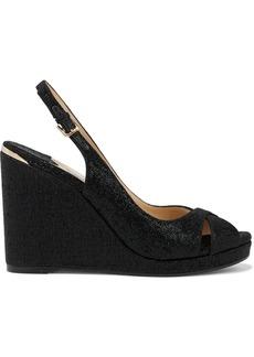 Jimmy Choo Woman Amely 105 Metallic Woven Slingback Wedge Sandals Black