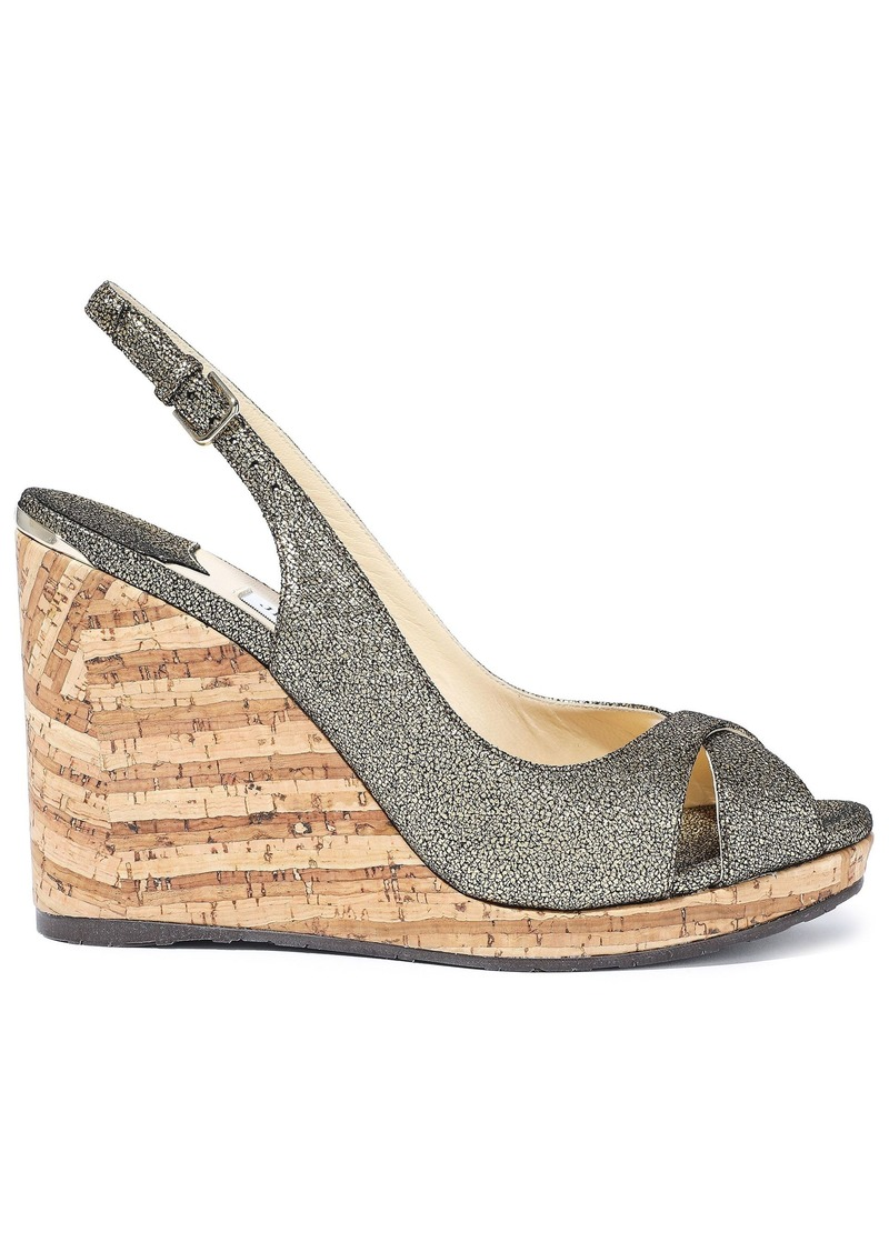 Jimmy Choo Woman Amely 80 Metallic Cracked-leather Cork Wedge Sandals Gold
